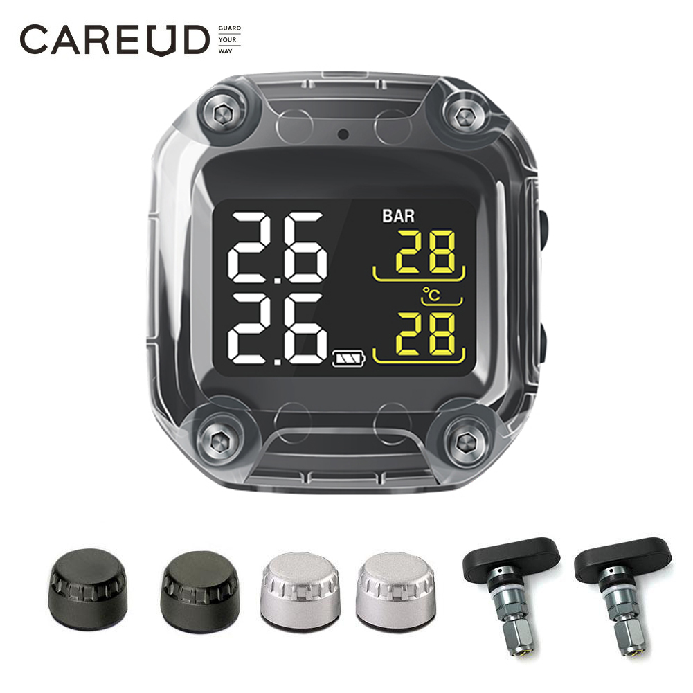 Motorcycle TPMS Tire-Pressure-Monitoring-System CAREUD Easy-To-Install Two-External/internal-Sensors