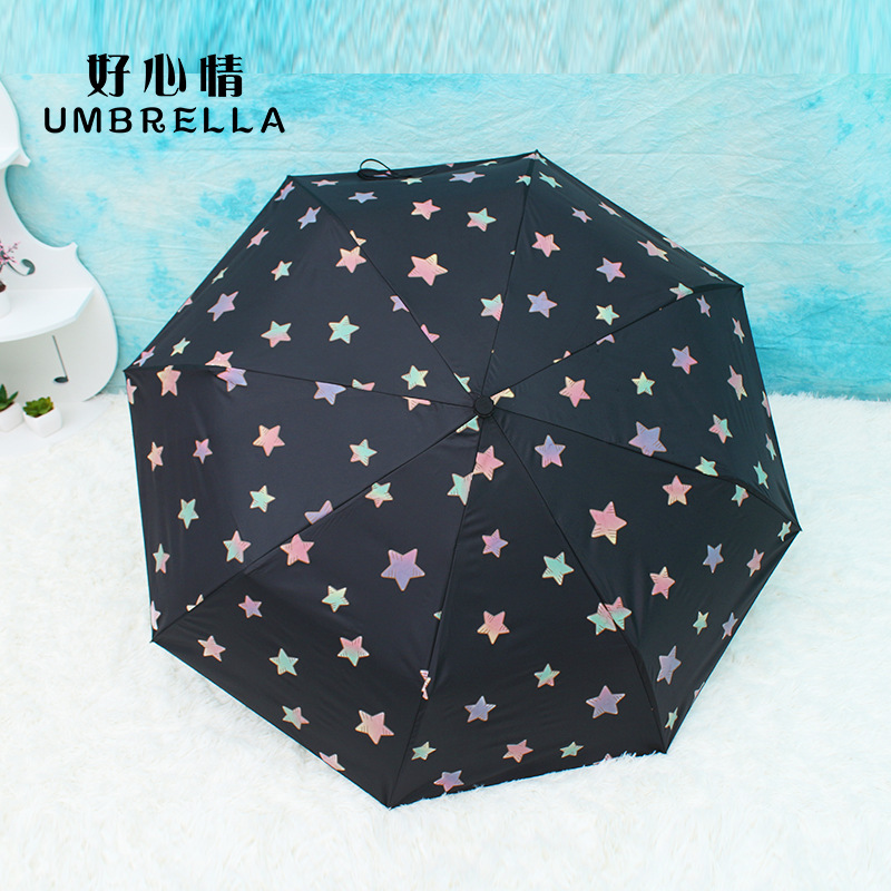 Creative Open Water Color Changing All-Weather Umbrella Sun-resistant Vinyl Parasol Tri-Fold UV-Protection Parasol Customizable
