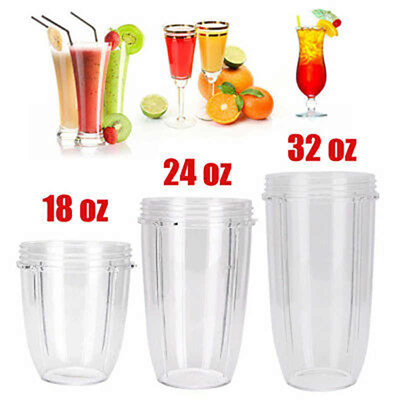 Transparent Plastic Replacement Cup Part Accessories for Nutri Ninja 900W 1000W Blender Juicer 18/24/32OZ