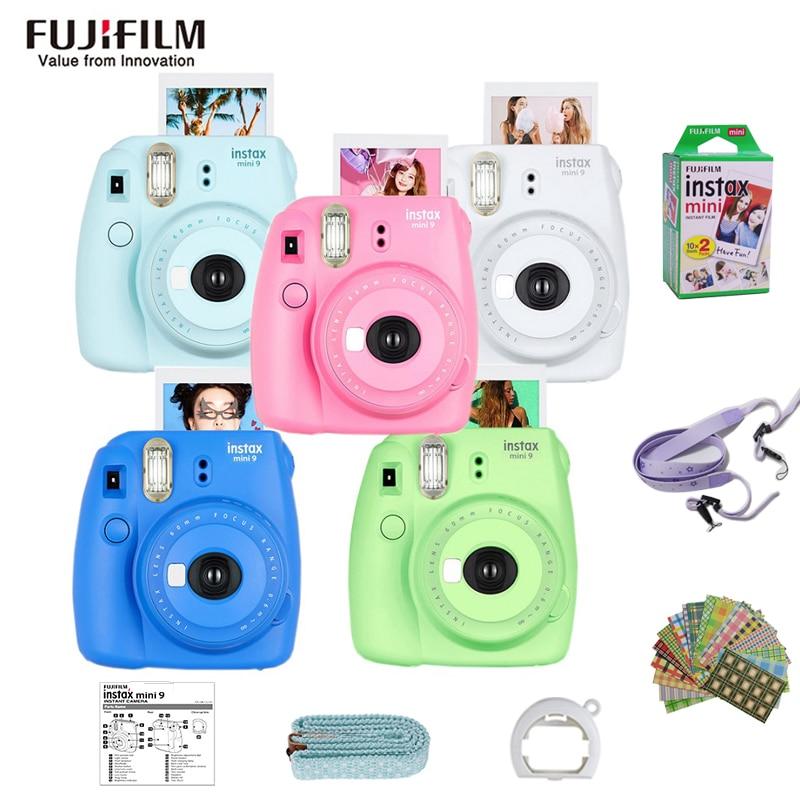 Original fujifilm fuji instax mini 9 filme instantâneo câmera fotográfica + 20 folhas fujifilm instax mini 8/9 filmes