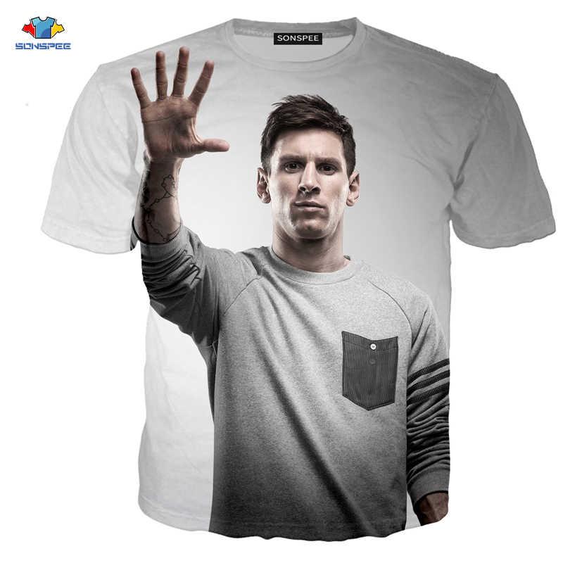Sonspee Kemeja Pria Messi T-shirt Summer Fashion Footbal Lionel Messi 3D Cetak Elemen Lengan Pendek T-shirt Anak-anak Natal Hadiah