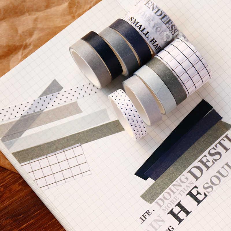 WOKO 10Pcs מגניב סגנון אנגליה שחור אפור Washi קלטת סט Morandi ספרותי מדבקת רטרו דקורטיבי מיסוך קלטת DIY רעיונות