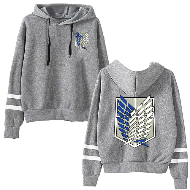 Attack on Titan Long Sleeved Striped Hooded Sweatshirt Pullover Tops Harajuku 2