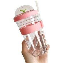 Kubek do herbaty przenośny plastikowy kubek ze słomką plastikowy kubek wielokrotnego użytku dla kubek do Bubble Tea kubek do herbaty 360Ml
