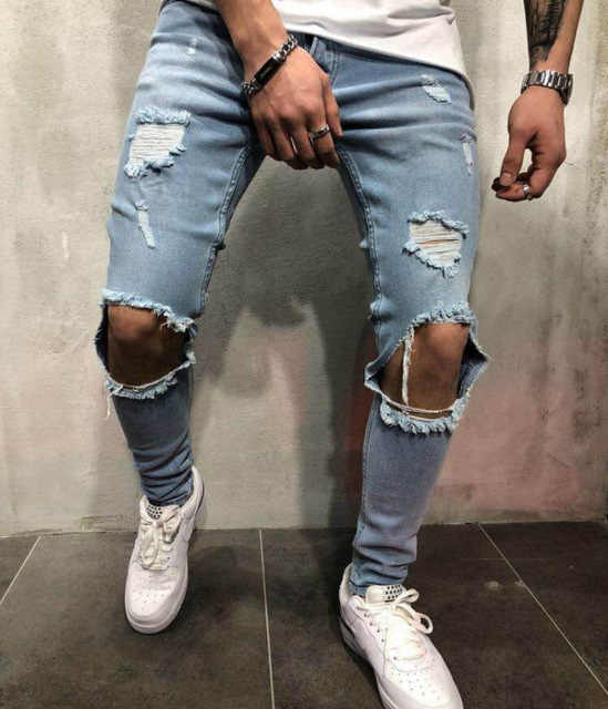 2019 new men's ripped jeans  1107