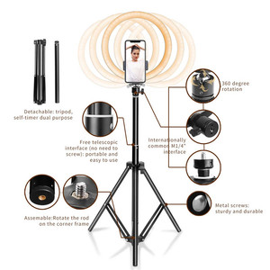 Image 2 - 16 26cm USB LED Ring Light Photography Flash Lamp With 130cm Tripod Stand For Makeup Youtube VK Tik Tok Video Dimmable Lighting