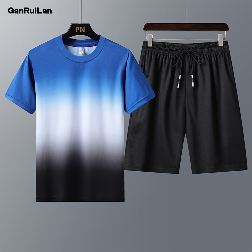 Male Casual Tracksuit Clothing Summer Men Set Fitness Suit Sporting Suits Short Sleeve T Shirt + Shorts Quick Drying 2 Piece Set