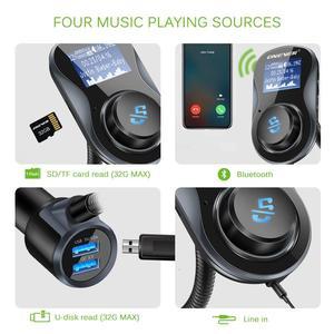 Лидер продаж Onever QC 3,0 USB зарядное устройство с двумя портами Bluetooth FM передатчик автомобильный комплект MP3 плеер Handsfree TF USB без потерь музыкальн...