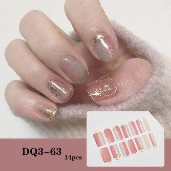 14pcs/sheet Glitter Gradient Color Nail Stickers Nail Wraps Full Cover Nail Polish Sticker DIY Self-Adhesive Nail Art Decoration 14
