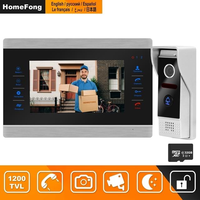 HomeFong Video Intercom Video Tür Telefon Türklingel Intercom für Haus Verdrahtete 7 zoll HD Monitor 1200TVL Video Türklingel Unterstützung CCTV