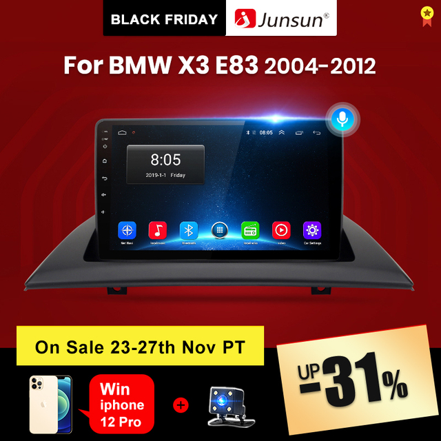 Junsun V1 pro 2G+128G Android 10 For BMW X3 E83 2004   2012 Car Radio Multimedia Video Player Navigation GPS 2 din dvd