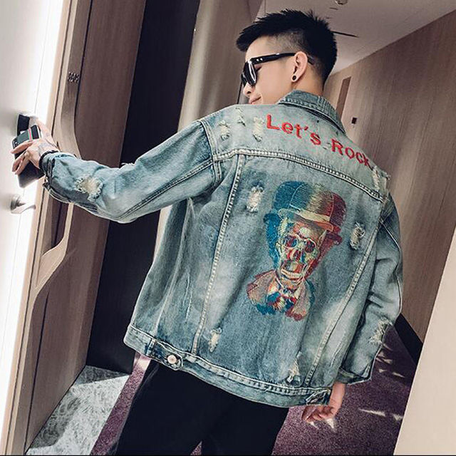 LET'S ROCK SKULL DENIM JACKET