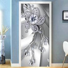 2 шт/компл 3d Серебряный цветок алмазная Настенная Наклейка