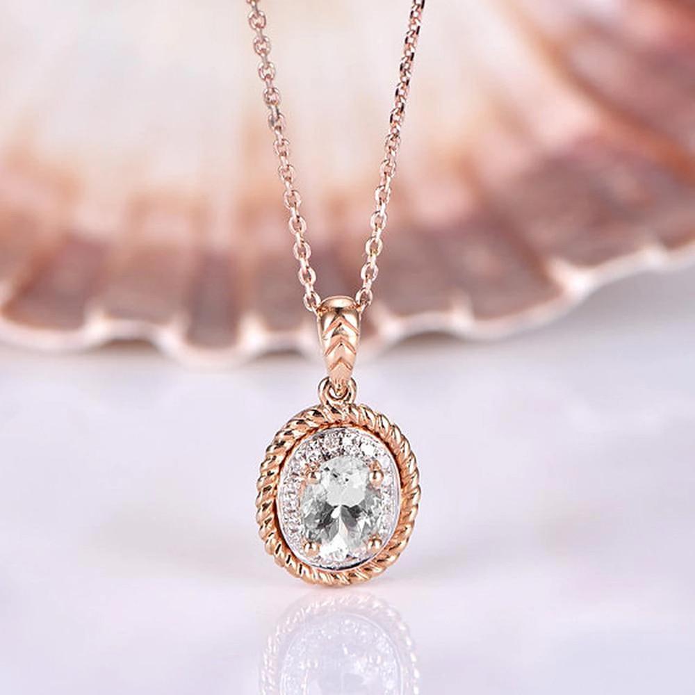 Huitan Romantic Women Wedding Necklaces Brilliant Oval Cubic Zirconia Elegant Anniversary Gift Pendent Necklaces Fashion Jewelry