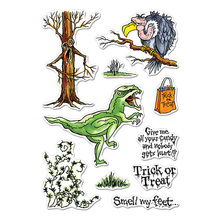 Trick Or Treat Clear Stamps Dinosaur Vulture Halloween Phrase&Decor.For DIY Card Making Kids Transparent Silicone Stamp New 2019