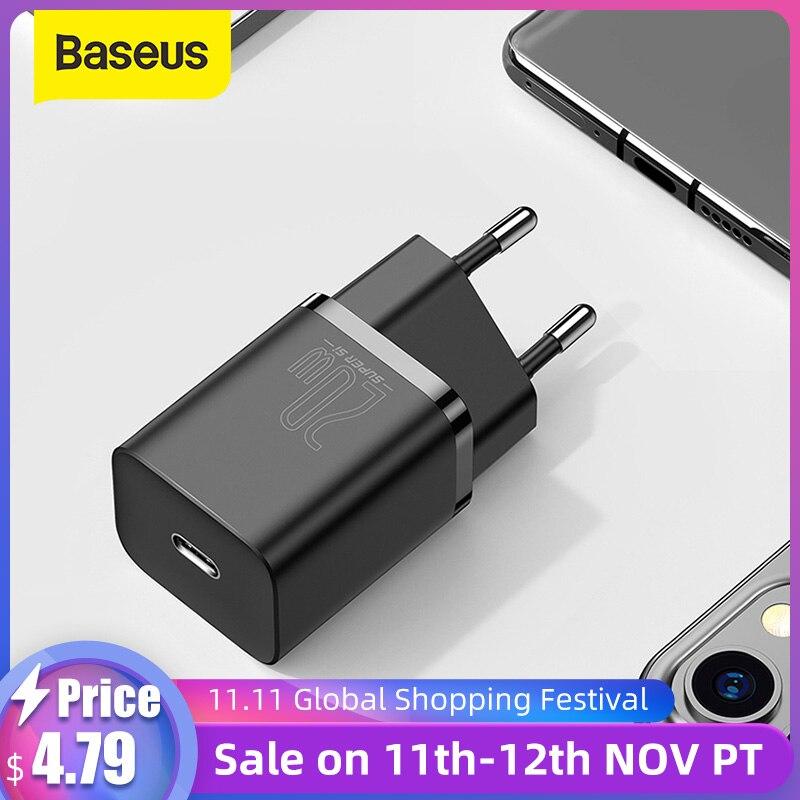 Baseus Super Si USB C Ladegerät 20W Für iPhone 12 Pro Max Unterstützung Typ C PD Schnelle Lade Tragbare telefon Ladegerät ForiP 11 Pro Max