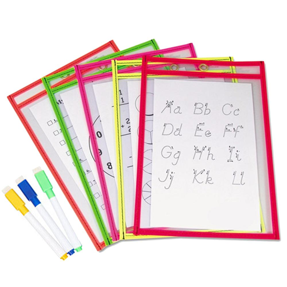 10x Transparent PVC Reusable Dry Erase Pockets Storage Pockets   3PCS Pens Multifuctional Office Painting Supplies Random Color
