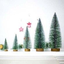 Wooden Mini Christmas Tree 2020 New Year Decoration for Xmas Home Table Desktop DIY Festival Decor 2019 Ornaments