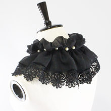 Baroque Prince Victorian Jabot Vintage Hand Made Steampunk Men Ruffle Black Lace Detachable Collar Gift Drop Ship(China)