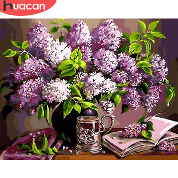 HUACAN Pictures By Numbers Lavender Home Decoration Oil Painting Flower DIY Drawing Canvas Hand Painted