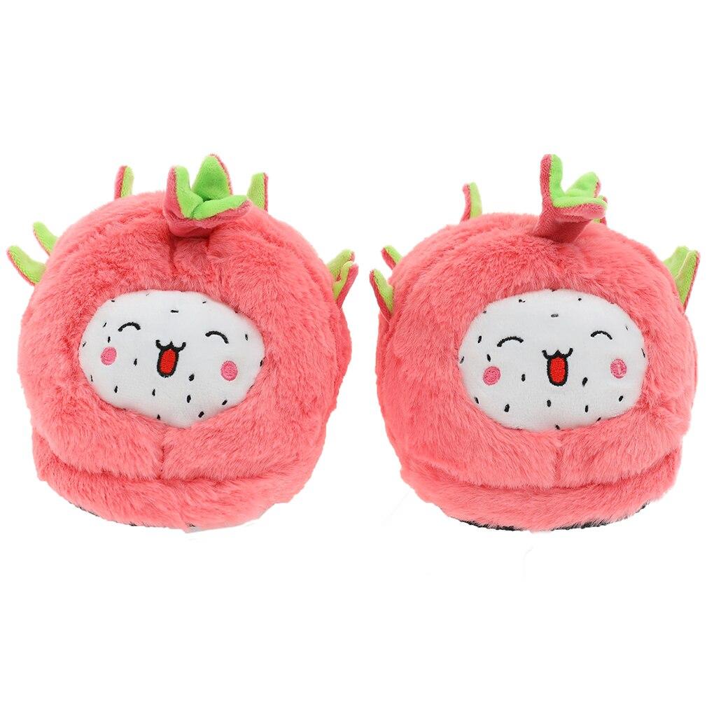 Hed2e9a95e4254b4c99edc770bf692653m Millffy mulher bonito dragão frutas pitaya chinelo de frutas feminino inverno de pelúcia casa chinelos sapatos quarto casa chinelo