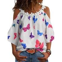 Half Sleeve Stitching Printing Tshirt Women Spring Summer Casual Round Neck Loose Elegant Sexy Pullover Shirt Top Streewear