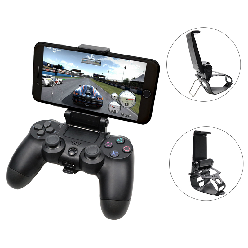 180 Degree Gaming Holder Mount Stand Bracket for Playstation 4 Game Controller PS4 Slim Pro Controller Grip for Android Smart Phone FiiMan PS4 Controller Phone Clip
