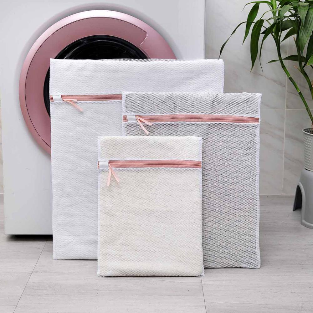 3PCS/Set Zippered Mesh Laundry Bag Polyester Washing Net Bag For Underwear Sock Washing Machine Pouch Clothes Bra Bags