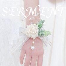 Everlasting Leaf Rose Wrist Flower Milk White Green Bride Bridesmaid Wedding Pearl Accessories