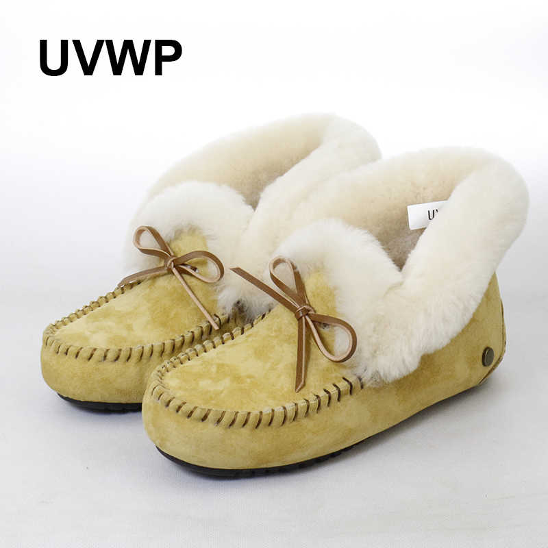Yeni kaymaz Kadın Ayakkabı Doğal Kürk Kar Botları Hakiki Deri Kış Çizmeler Kadınlar % 100% Doğal Yün Sıcak yarım çizmeler kadın