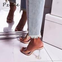 Pzilae/Новинка; модные шлепанцы из пвх; женские прозрачные шлепанцы на высоком каблуке с открытым носком; босоножки на прозрачном каблуке; размер 42