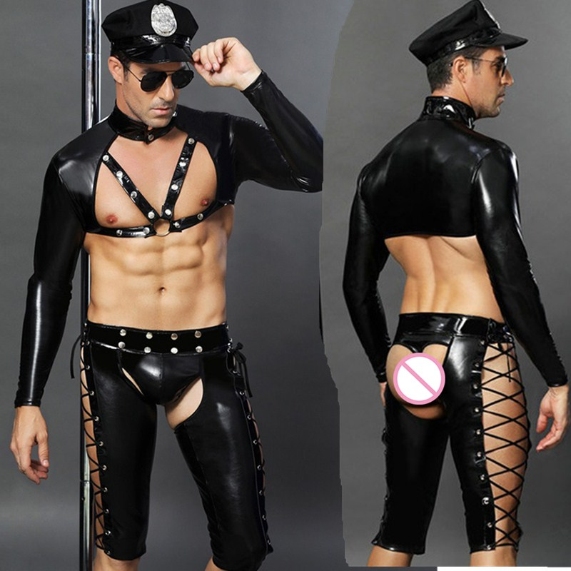 Sexy Faux Leather Male Sexy Police Costume Hot Erotic Cop Uniform Set Adult Men Role Play Costume Sex Clothes Top + Pants + Hat