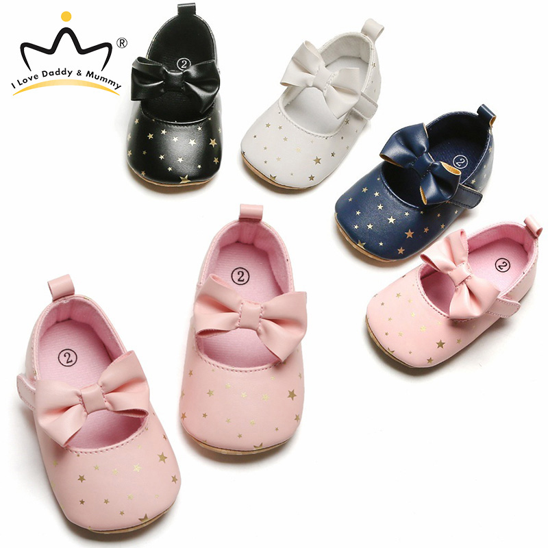 New Cute Floral Bows Baby Girl Shoes Soft Sole Crib Shoes For Girls Newborn Star Print Bowknot Infant Shoes Toddler Shoes