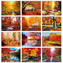 Huacan 5D Diamond Painting Full Drill Square Landscape Diamond Embroidery Sale Fall Mosaic Wall Art
