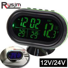 4 в 1 Цифровой вольтметр 12 В 24 в многофункциональные автомобильные температурные часы автоматический термометр электронные часы автомобиль...