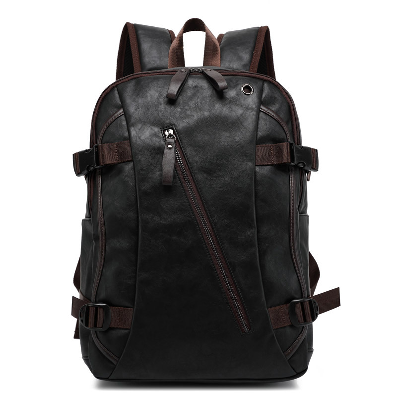 Men Oil Wax Leather Backpack Men's Casual Backpack & Travel Bags Western College Style Man Backpacks Mochila Zip Men Waterproof
