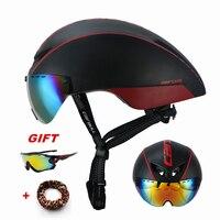 Pneumatic Cycling Helmets Goggles Aero Road Bike Helmet with Lens Magnetic Triathlon Tri Race MTB Bicycle Helmet Casco Ciclismo|Bicycle Helmet| |  -