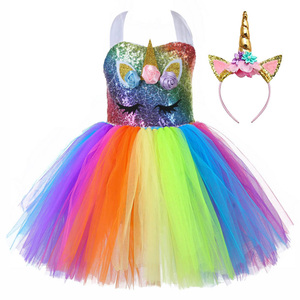 Image 3 - Cute Kids Unicorn Theme Birthday Party Unicorn Dress Girl Rainbow Sequin Top Christmas Dress for Baby Girls Unicorn Baby Clothes