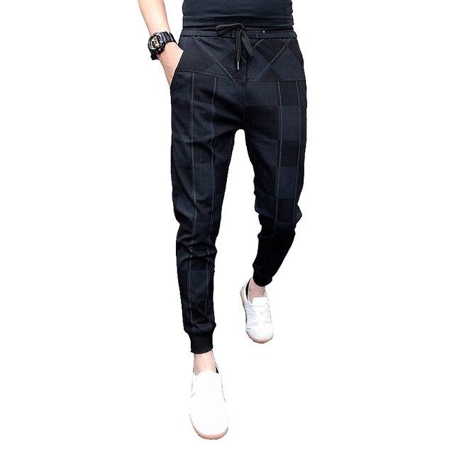 2019 Autum Mens Joggers Pants Hip Pop Casual Pencil Pant Sweatpants Trousers Streetwear Plaid Black Casual Harem Pants Plus Size 5