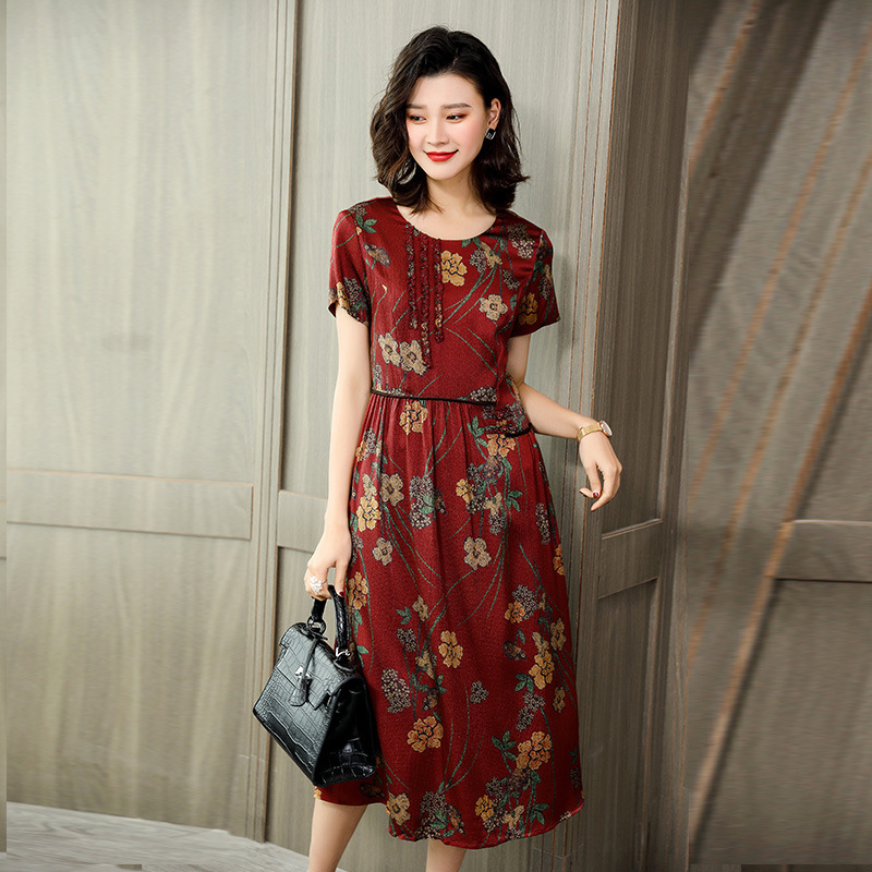 Silk dresses women natural 2020 spring summer printed red floral mother casual sexy beach dress loose plus size high quality