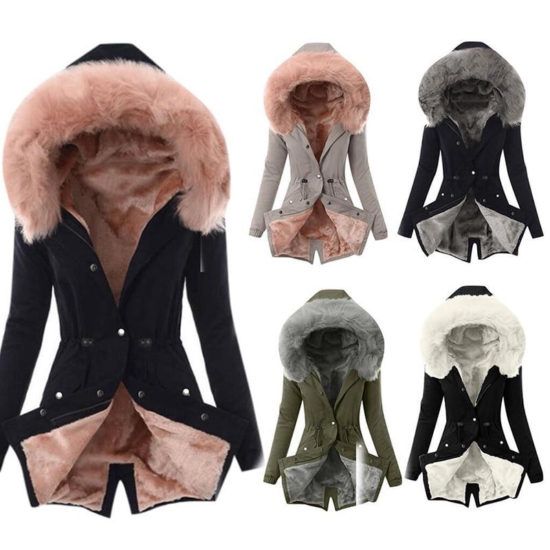 SWQZVT Hot Sale Fur Collar Winter Coat Women Solid Color Sashes Casual Warm Cotton Coat Women Jacket Hooded Women Parkas (5)