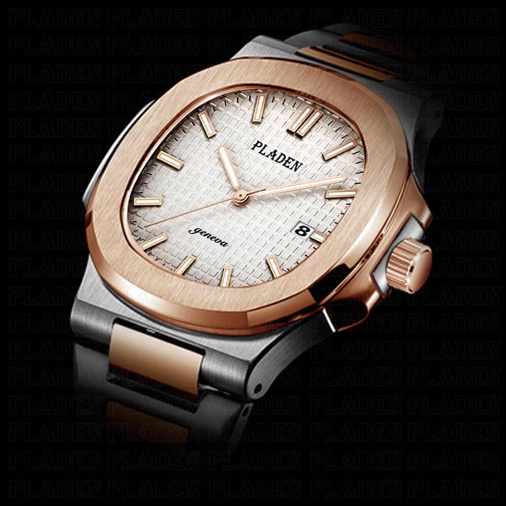 PLADEN montre de mode hommes 2019 personnalité boîtier octogone 18k montre en or Rose hommes Quartz genève montres Relogio Masculino # PL1004