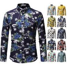 Mens shirt, mens printed lapel mans long-sleeved shirt man, large