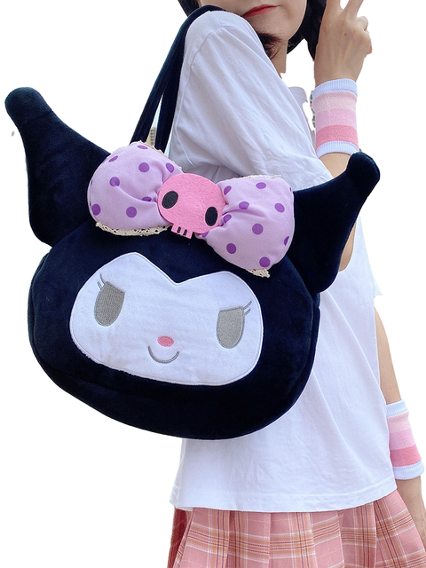 Kawaii Sanrio Series Plush Bag Toy Large Capacity Backpack Kuromi Loli Shouder Bag Doll Lovely Pendant