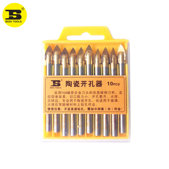 цена на BOSI 10pcs 8mm Porcelain Spear Head Ceramic Tile Glass Marble Drill Bits Set