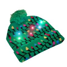 Christmas Hat String Lights Cuffed Women Men Hats Bobble Ball Pompom Winter Beanie Skullies Green Knit with LED Colorful Light