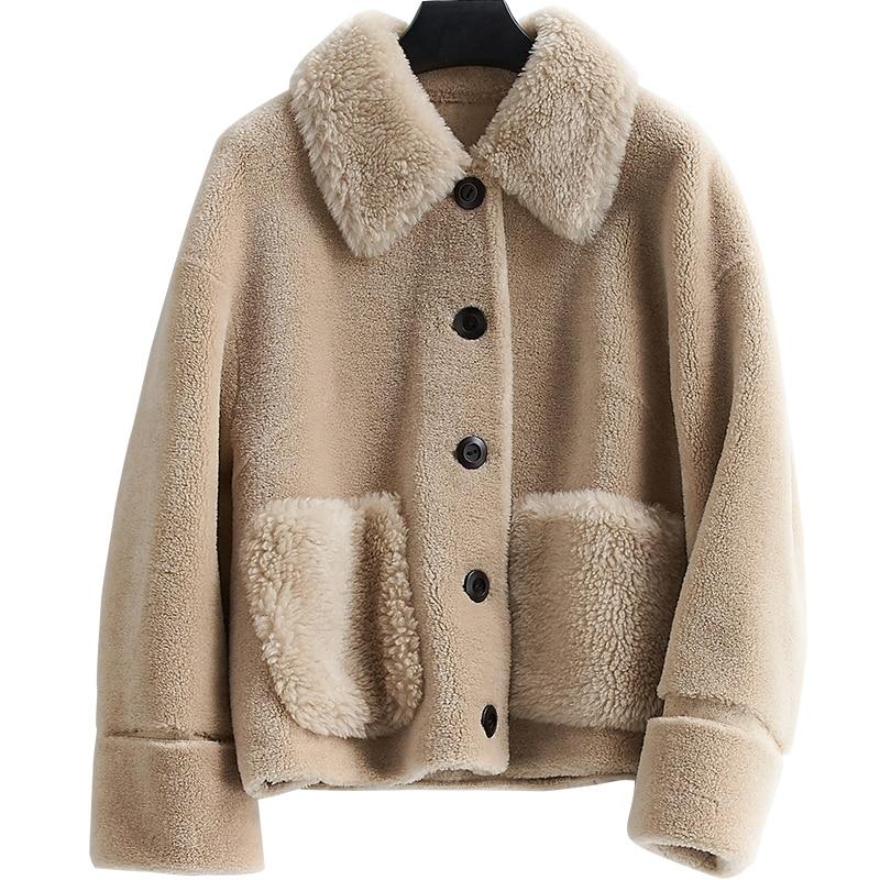 Real Fur Coat Wool Jacket Autumn Winter Coat Women Clothes 2020 Korean Vintage Women Tops Sheep Shearling Suede Lining ZT3777