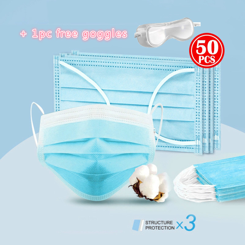 50Pcs Mouth Masks Profession Anti Virus Mask Pre Sale One Time MASK PM2.5 Disposable Elastic Mouth Soft Breathable Face Mask