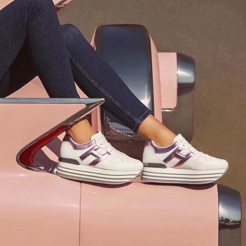 Женские кроссовки на платформе Prova Perfetto, разноцветные кроссовки из натуральной кожи на толстой подошве со шнуровкой, 6 см, 2020