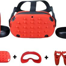 Новейшее Силиконовое защитное покрытие на голову, маска для лица, накладка, оболочка, кожа для Oculus Quest VR, очки, контроллер, накладка, защита от пота